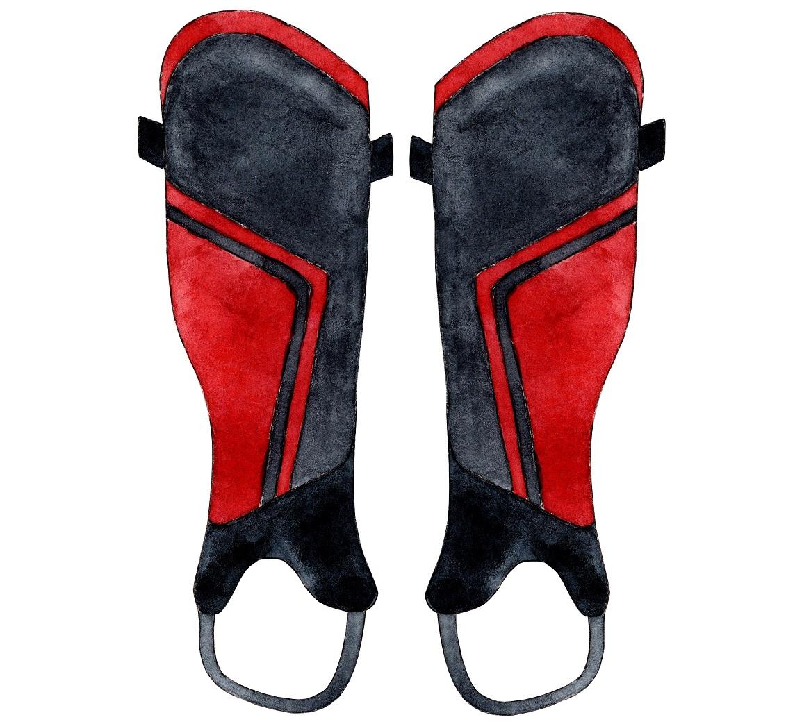 Rood-zwarte scheenbeschermers met een enkelsok