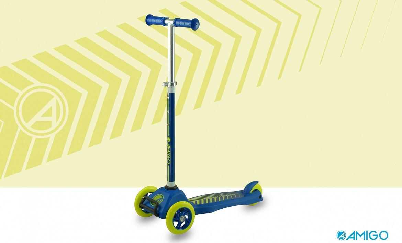 Blauwe AMIGO kinderstep met drie wielen, speciaal gemaakt voor plezier en veiligheid