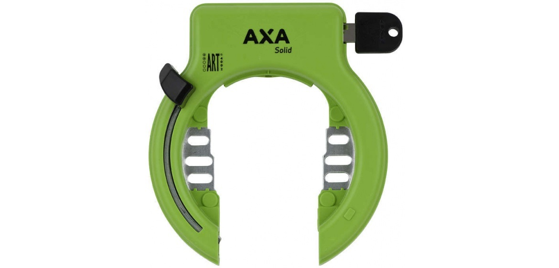 Ringslot van het merk AXA, het slot heeft een groene kleur