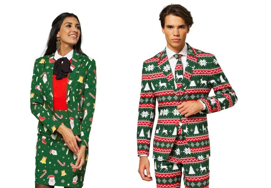 Man en vrouw in een kerstpak van Opposuits