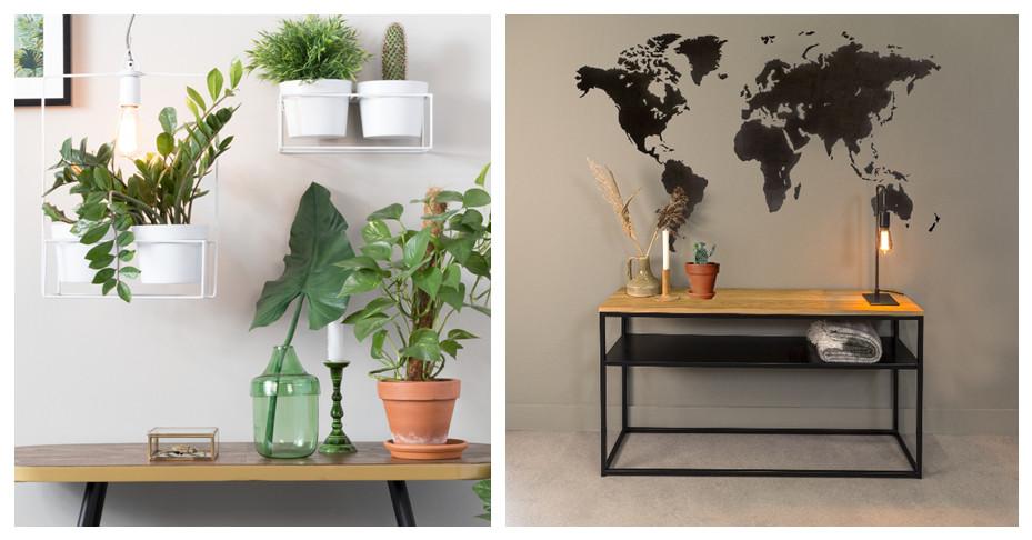 Twee afbeeldingen van side tables met planten erop